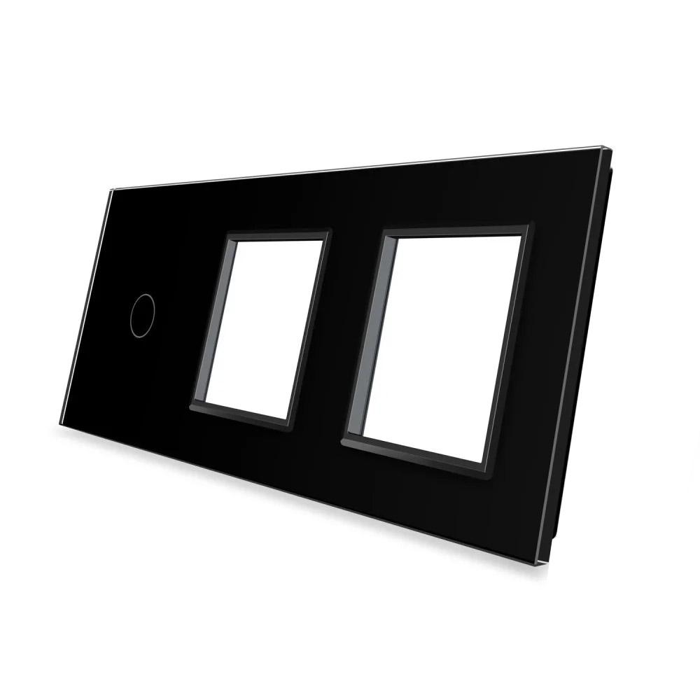 Frontal 3x cristal negro, 2 enchufes + 1 botón