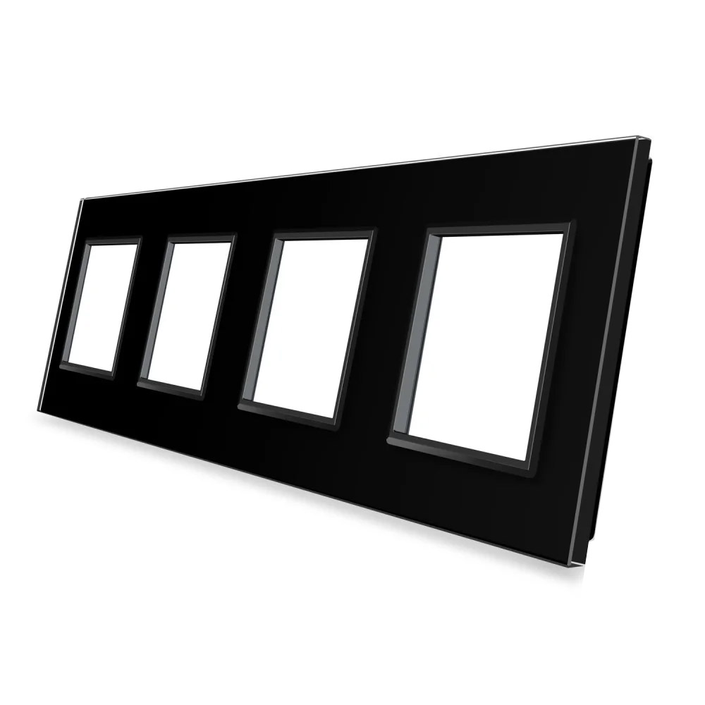 Frontal 4x cristal negro, 4 enchufes
