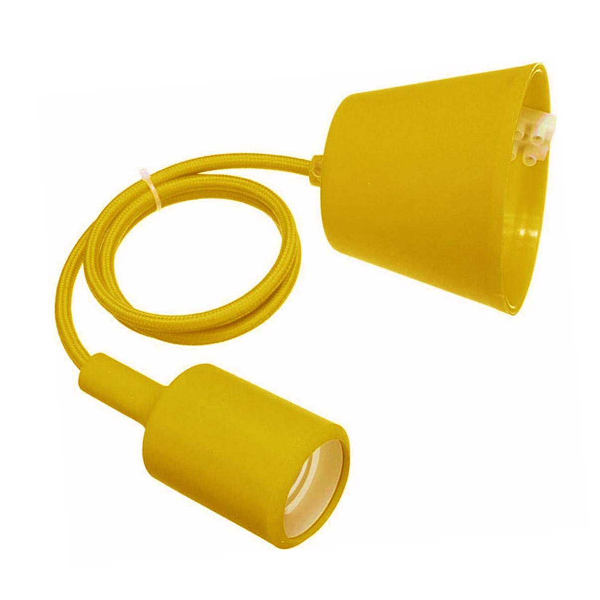 Suporte com casquilho E27, 1m, Amarelo